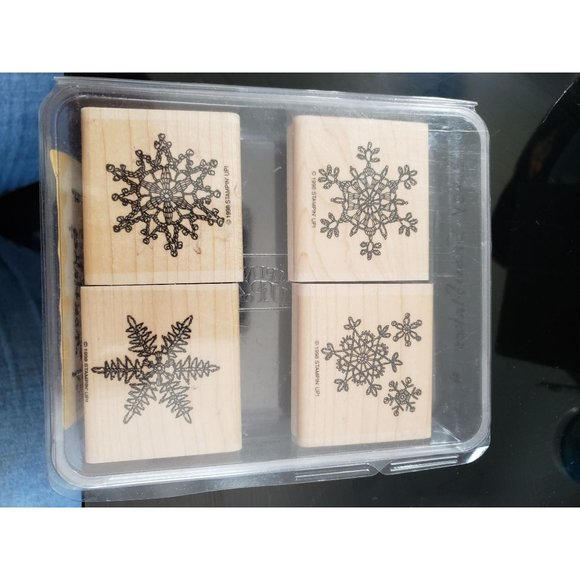 Stampin up Lace Snowflakes Wood mount 1998 SNOW FLAKES lacy